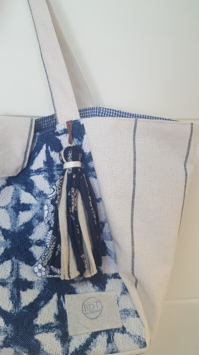 Bolso de tela Mediano Azul-Beige