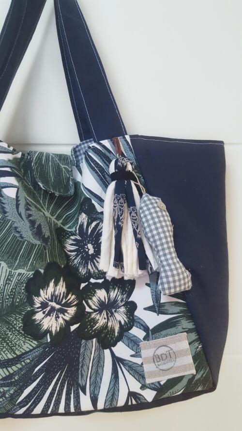 Bolso de tela Mediano en azul y verdes