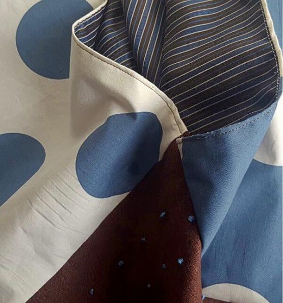 Telas de bolso origami. lunares, marron y forro