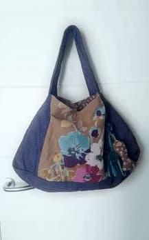 Bolso de Tela Azul Flores, modelo Big Bag