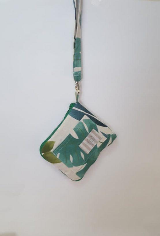 Bolsa con agarradera para la compra. Cremallera verde