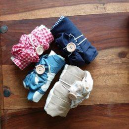Bolsas ecológicas de tela formato mini para la compra.