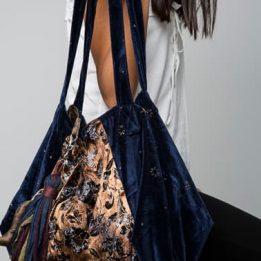 Bolso XL de Terciopelo azul