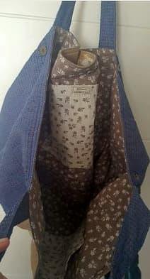 Bolsillo interno y forro de flores para bolso de tela