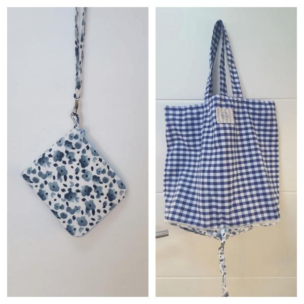 Bolsa Ecológica de tela vichy azul para la compra plegable y con cremallera