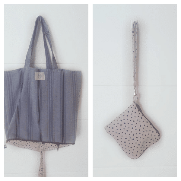 Bolsa de tela en tonos grises y beige. Recicla!!
