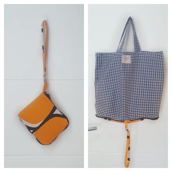 Bolsa de tela en tonos naranjas con interior en vichy negro. Recicla!!