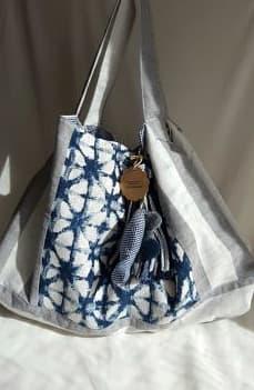 Bolso XL en azul y gris