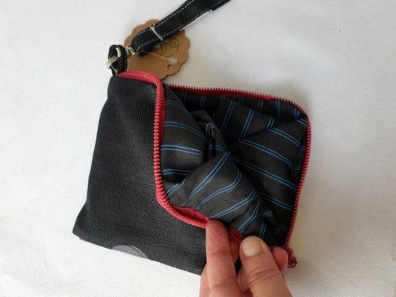 Bolsa para la compra de tela en negro con rayas