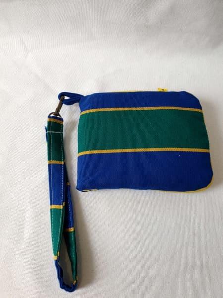 Eco Bolsa de Tela Rayas Amarillas, verde y azul flúor.