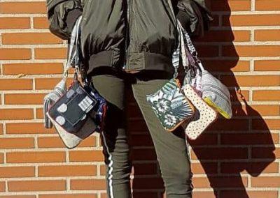 Bolsa de tela para la compra plegadas y cerradas con cremallera